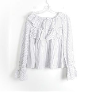 Pinstripe ruffle blouse romantic cute dressy chic